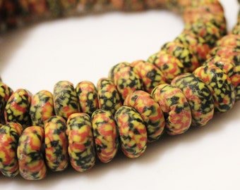 African Glass Disc Beads (20), Orange Yellow Black Beads,colorful Ethnic Beads (n20)