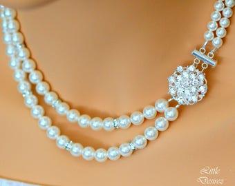 Pearl Rhinestone Bridal Necklace, Wedding Bridal Necklace, Swarovski Crystal Pearl Necklace, Vintage Style Bridal Necklace, STARBURST