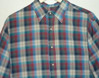 80s Pendleton Shirt / L / Light Weight / 1980s / Plaid / Shadow Plaid / 1980s Pendleton Shirt / Vintage Pendleton / Wool Shirt / 80s Shirt