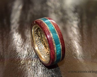 Silver Canada coin ring with purple heart wood and turquoise inlay