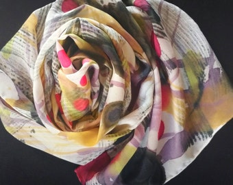 Handpainted Abstract silk scarf,one-of-a-kind,wearable art, luxury women's accessories,scarves and wraps,black,red,gold,gifts for her,soft