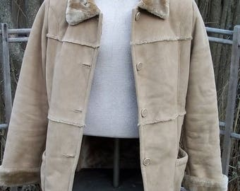 SALE Vegan faux seude shearling , good quaulity faux , Washable , size L by Lady Hathaway.Coat jacket