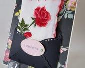 Vintage Rose Embroidered Handkerchief Mother's Day Birthday Wedding Happy Tears Graduation Thinking Of You Bridal Hanky Keepsake Card