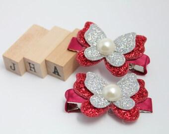 Children/Girls/Baby girl hair clip - Glitter Butterfly Silver