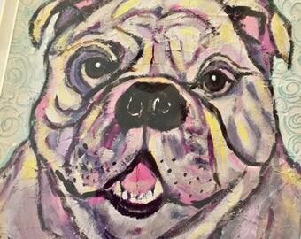 Bulldog painting, bulldog print, bulldog art