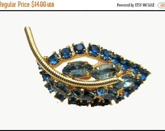 Blue Rhinestone Leaf brooch mid century gold blue