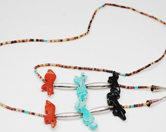 Southwestern Eyeglass Holder - Turquoise Coral Onyx gemstone beads  - Sterling Silver - eye glass Neck chain  - NAtive American