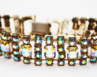 Rhinestone Bracelet - Aurora Borealis Crystal - Silver - Bling glitz Hollywood glamour - Mid Century Bracelet - Wedding Bride