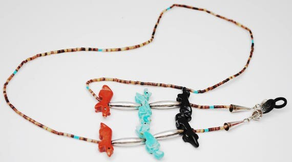 Southwestern Eyeglass Holder - Turquoise Coral Onyx gemstone beads  - Sterling Silver - eye glass Neck chain  - NAtive American