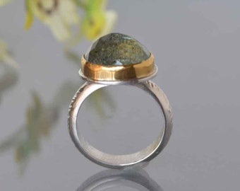 Aquamarine Ring in Gold and Silver, Large Moss Aquamarine Cocktail Ring, Rose Cut Aquamarine, March Birthstone, Made to Order