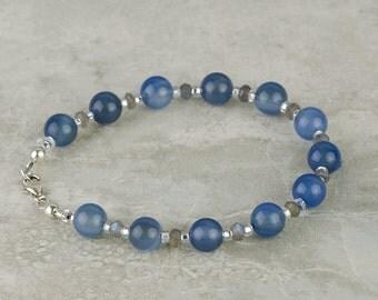 Misty Blue Chalcedony Gemstone Bracelet w Faceted Labradorite & 925 Sterling Silver, Genuine Gems, Handmade Bracelet, Sacred Stone Bracelet