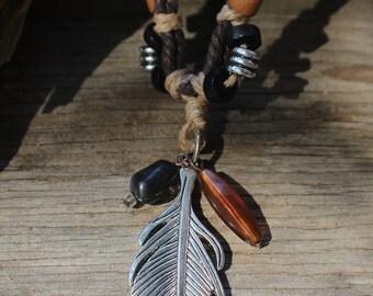 Adjustable Tri-colored Hemp Necklace