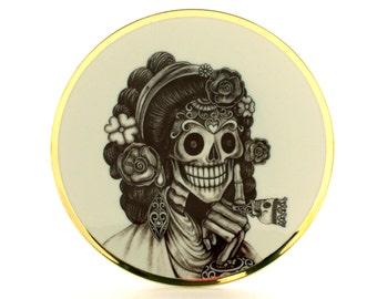 Sugar Skull Altered Vintage Porcelain Plate Ring Day of the Dead Mexico Halloween Calavera Dios de los Muertos Wa