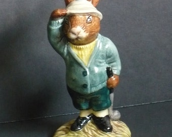 "Royal Doulton Figurine ... 1984 ""Bogey Bunnykins"" ... A Cute Little Golfing Bunny!"