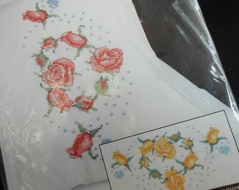 Unused Kit Pillowcase Pair Heart of Roses Cross Stitch Embroidery Bucilla Stamped Pillowcases Kit #64444 Special Edition 1996