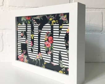 "Typography, Wall Art,  ""F*ck"" 5""x7"" Framed Art Print, Floral, Striped, Cuss, Word, Framed, Gift, Funny, Pastel"