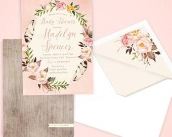 Boho Floral Wreath Baby Shower Invitation, Baby Girl Shower, Baby Shower Invite, Flowers and Feathers Shower Invite, Lined Envelopes