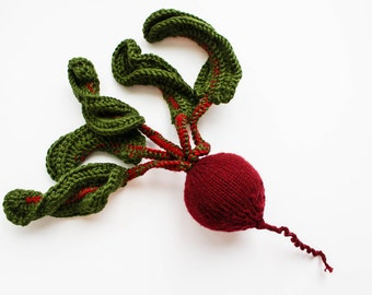 Pretend play beetroot - vegetables toy food - Baby soft toys red beet - green oxblood knitted toy - Waldorf educational - gift for gardener