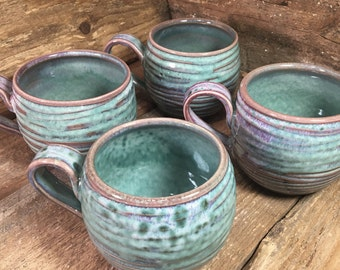 Set of FOUR Large 18 oz Hand Carved Coffee Mugs in Peacock