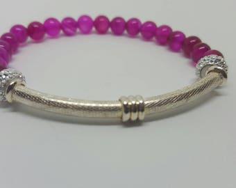 Silver Bar Pink Jade Bracelet