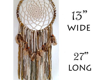Dreamcatcher, Dream Catcher, Boho Wall Décor Hanging, Bohemian, Feather, Crochet Doily, Gift, Nature Theme, Native American