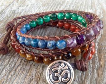 ON SALE 7 chakra leather wrap bracelet om unisex rainbow stone quartz amethyst lapis malachite tiger eye carnelian jasper