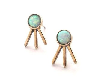 Opal Crystal Cluster Earrings