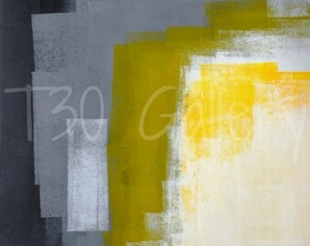 Digital Download - Block Party, Grey and Yellow Abstract Artwork