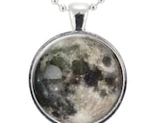 Full Moon Necklace, Glass Photo Pendant Charm, Space Jewelry (0439S25MMBC)
