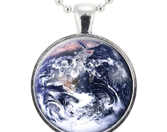 Earth Necklace, Planet Art Pendant, Universe Jewelry, Science Gifts (1124S25MMBC)