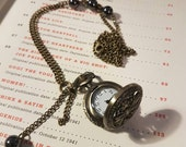 Steampunk Pocket Watch - Steampunk Pocket Watch Necklace - Black Dragons Eyes