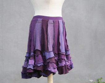 Sale, Purple sweater skirt, chaos skirt, upcycled sweaters, size XL, eco friendly, woman, chaos skirt, hippie skirt, Solmode