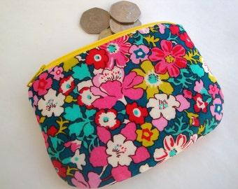 Floral Cotton  Coin Purse - Liberty Print Coin purse - zip purse - handmade - gift - women - girls -  fabric coin purse - mini make up bag