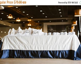 "50% OFF: 90 x 132"" Simple Elegance - Colorblock Thick Satin Tablecloth in Ivory and Navy Blue"
