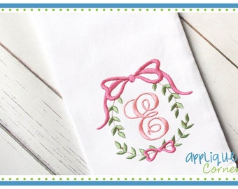 Ribbon Monogram Frame 3423 digital design for embroidery machine by Applique Corner
