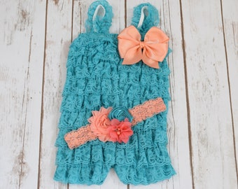 1st Birthday Girl Outfit, Teal Romper, Cake Smash Outfit Girls, Lace Romper, Cake Smash Outfit, 1st Birthday Girl Outfit, Rompers, Romper