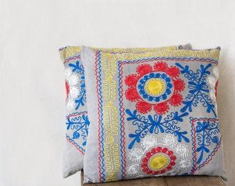 Uzbek suzani pillow, 18x18, SET of TWO, decorative pillow, silk cotton pillow, embroidered cushion, floral needlework, ornate pillow