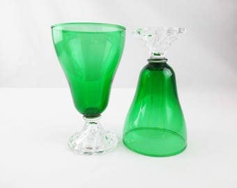 Two Green Anchor-Hocking 'Boopie' Stemware Goblets - Green With Foot - Depression Glass Elegant Dining - Great Green Color