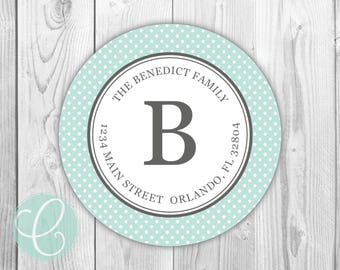 """Polka Dot -  Return Address Labels - 2"""" Round Stickers - Glossy or Matte - Dotted Blue Aqua Personalized Custom Family Name Label"""