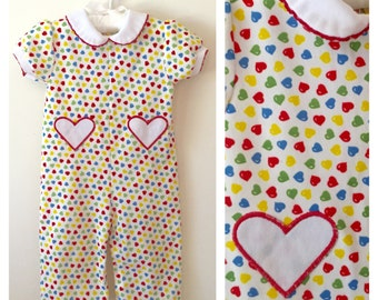 70s Carter's Multi Color Heart Onesie, Baby Girls Size 12 to 18 months