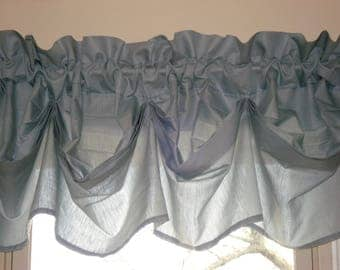 "Antique Teal Pinch Pleat Valance ~  63"" x 14""  (2 available)"
