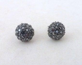 Vintage Black Rhinestone Crustal Cluster Ball Post Earrings