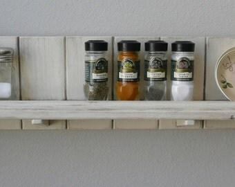 "French country kitchen or bath rustic shelf. Over the stove shelf. Farmhouse spice rack. Farmhouse shelf. 7"" x 28"""