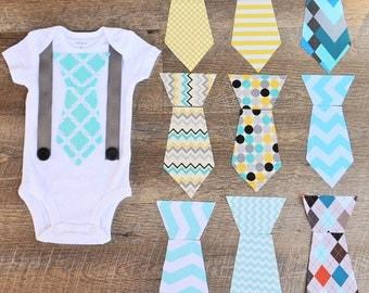 Tie Onesie with Suspenders-  Tie Onesie-  Boy Onesie- Baby Onesie- Baby Camo Onesie - Boy Baby Shower Gift- Little Man