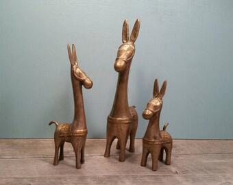Brass Bankura Dokra Horses - Set of 3