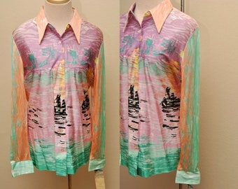 ON SALE 70s Dead Stock Blouse Two Men in a Boat Abstract 15/16