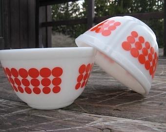 Pyrex Orange Polka Dot Bowls 1 1/2 Pint New Dot Mixing Bowl Number 401 Vintage