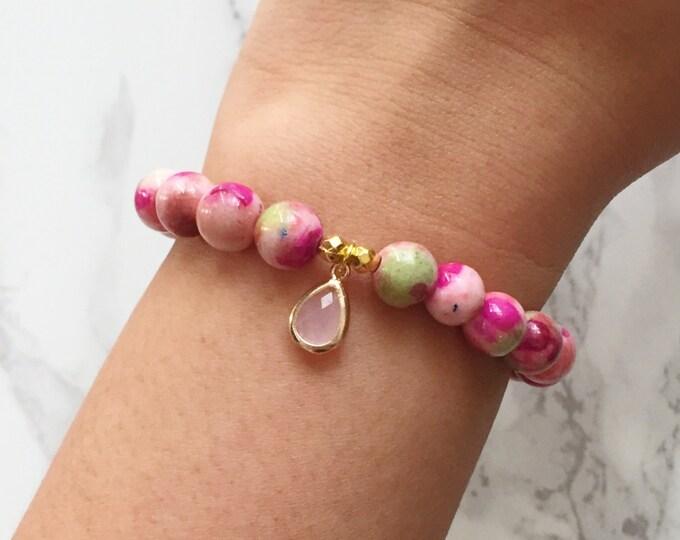 Watercolor Bracelet Charm Bracelet - Pink & Green Garden