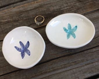 Starfish Bowl, Starfish Ring Dish, starfish Tea bag Holder, Starfish PILL Bowl, Handmade Pottery, Coastal Decor, starfish teacher gift