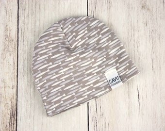 Organic Cotton Baby Hat in Gray Fish Print - Organic Baby Beanie - Gender Neutral Baby Hat - Gray Fish Hat - READY TO SHIP